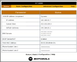 Use the VT1005 Status page to determine if it has connected up to your DSL provider.