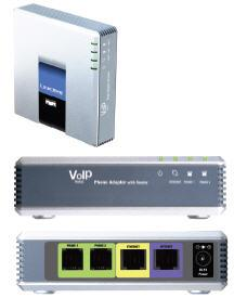 The Linksys SPA2102 ATA has two FXS ports (telephone ports) with one configurable voice line.