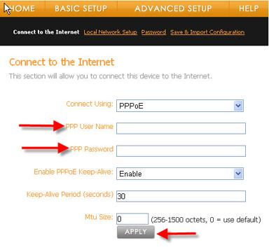 How to set Vonage to PPPoE
