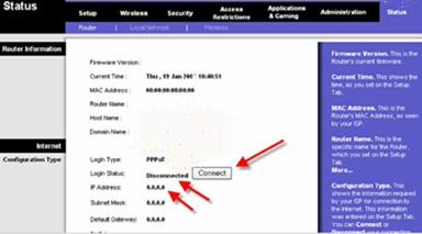 On the Status page of your Linksys VoIP ATA router you will see if you are connected and have an IP address.