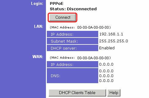 Linksys Staus page showing the Connect Button for PPPoE authentication.