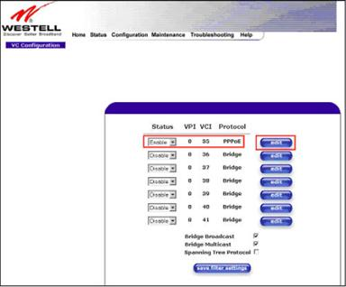 How to set a Westell 6100 DSL modem to bridge mode and